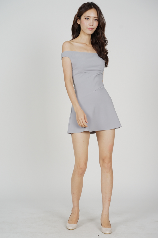 Olia Criss Cross Dress in Grey - Arriving Soon