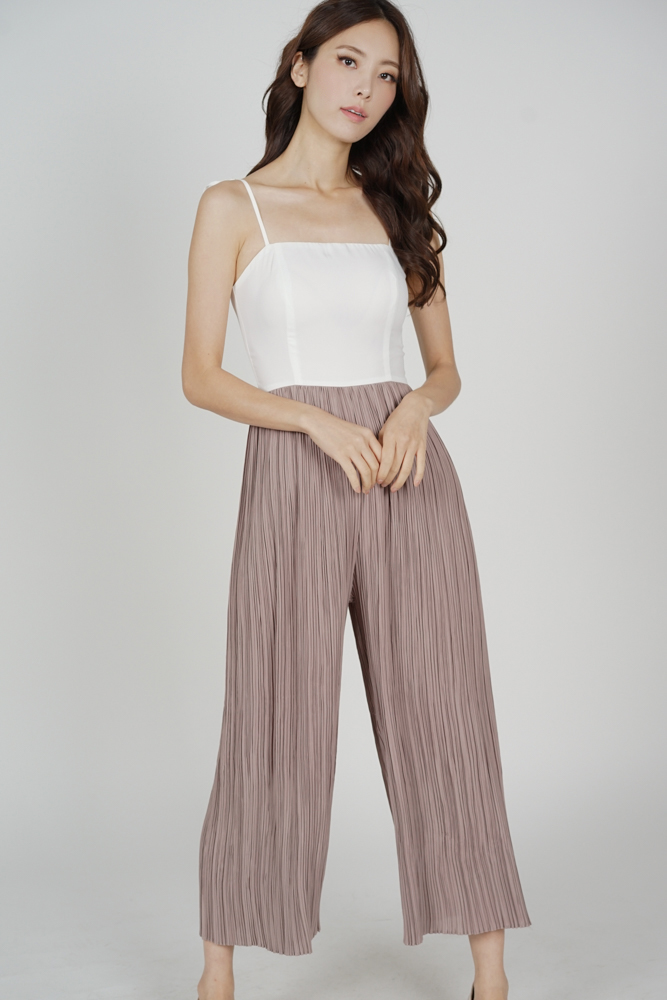 Sanders Pleated Jumpsuit in White Taupe - Arriving Soon
