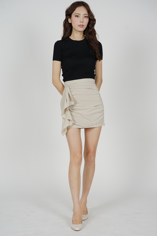 Mitra Ruched Skirt in Taupe - Online Exclusive