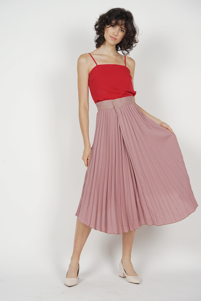 Kamilia Pleated Skirt in Mauve