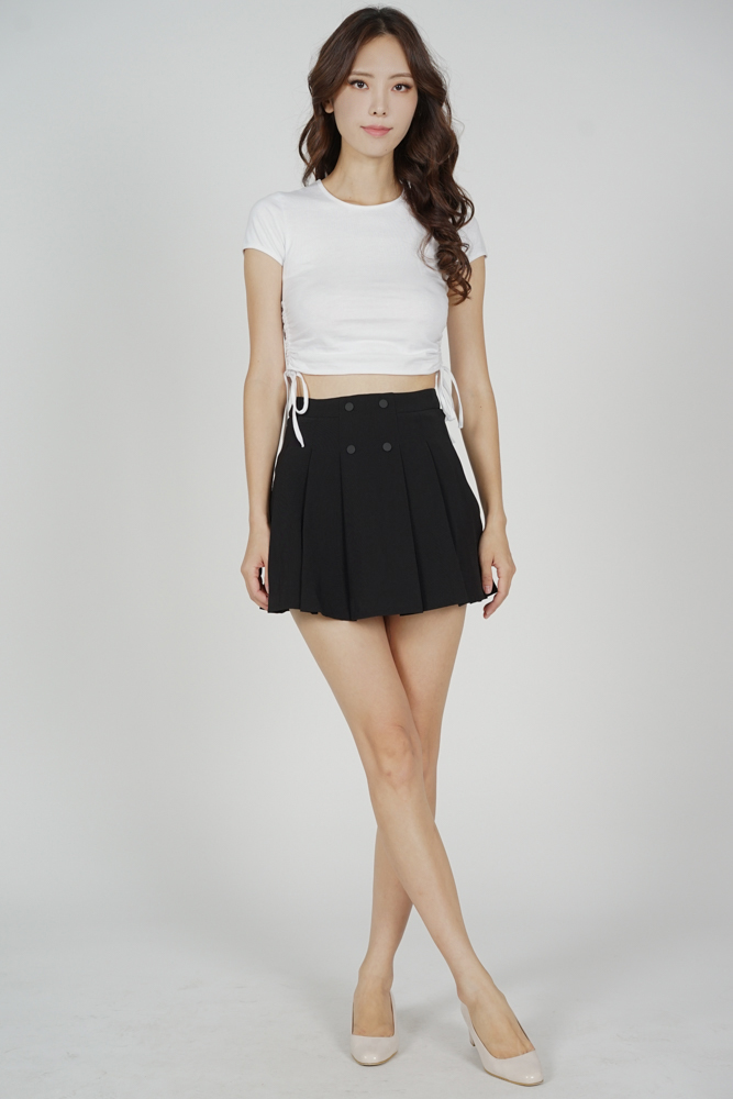 Tura Pleated Mini Skorts in Black - Arriving Soon