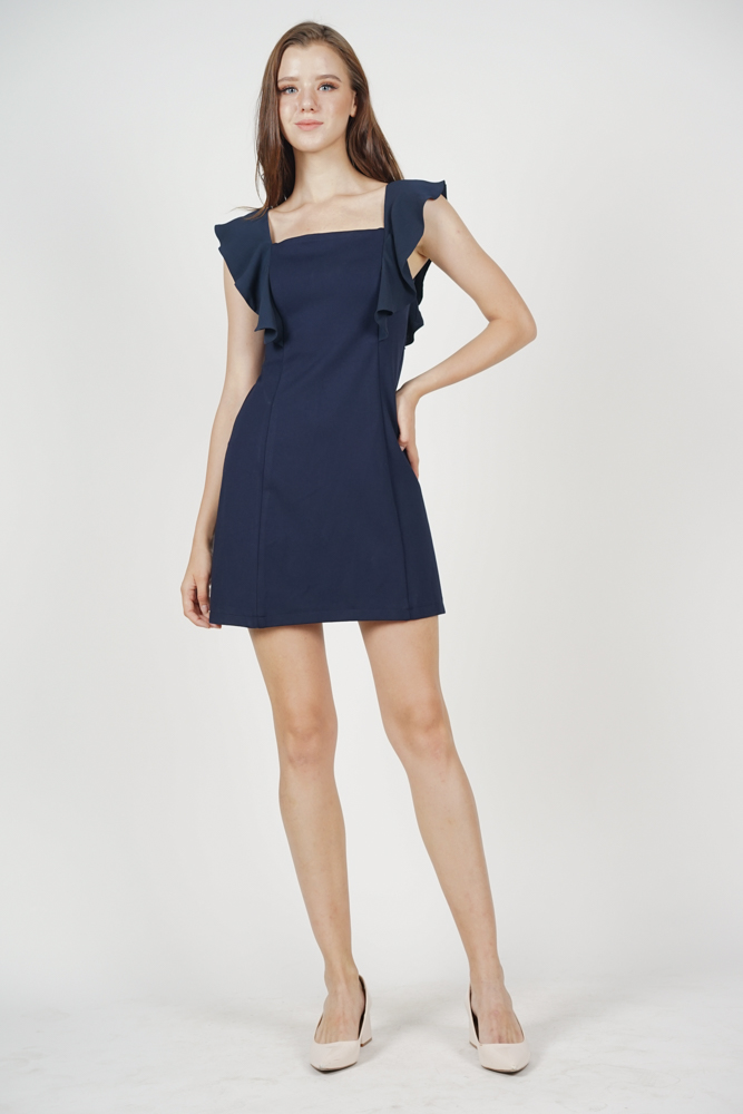Tilly Ruffled Dress in Midnight