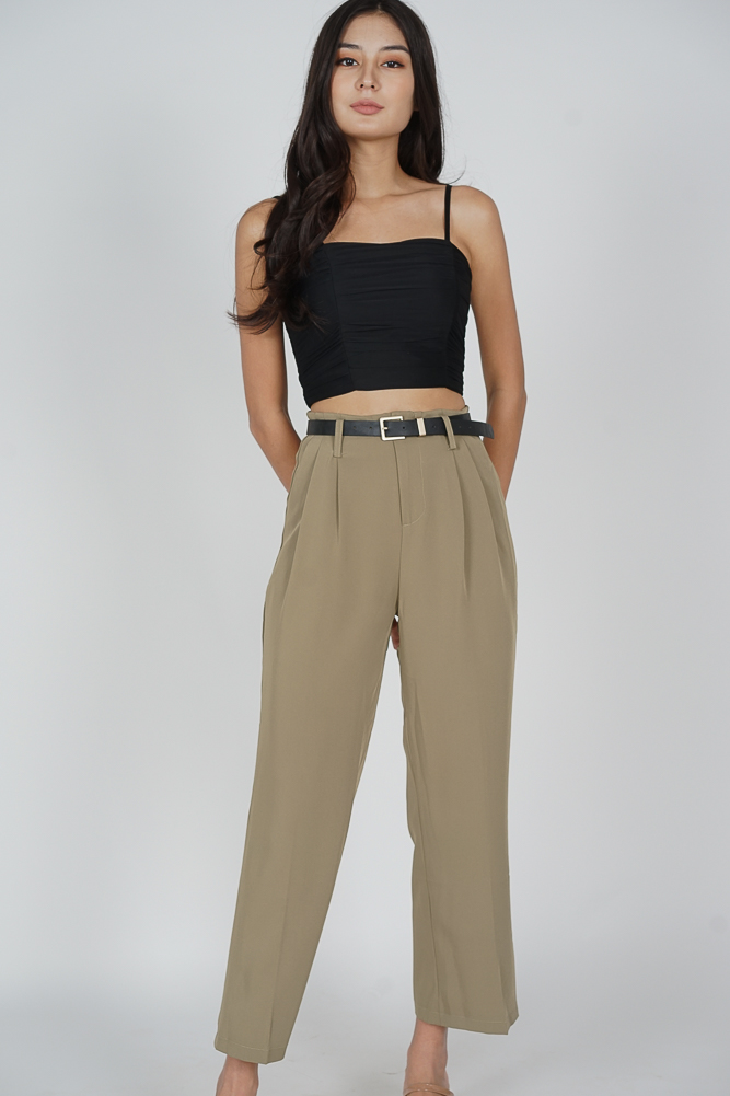 Gina Wide Leg Pants in Khaki - Online Exclusive