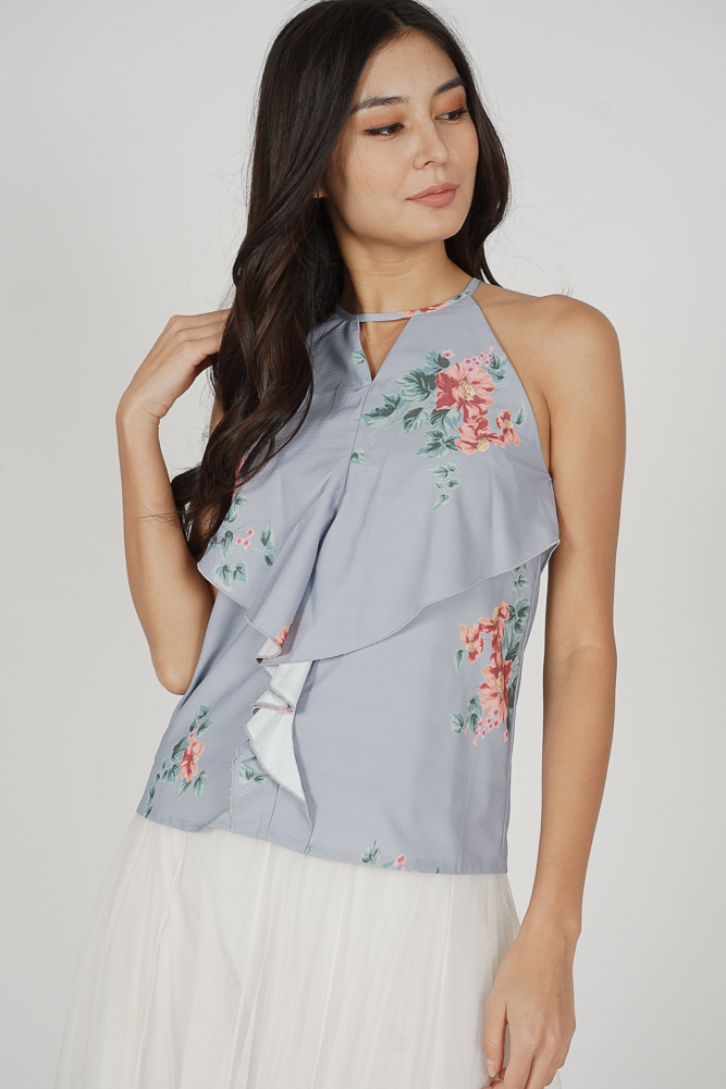 Cutout Ruffled Top in Ash Blue Floral - Arriving Soon