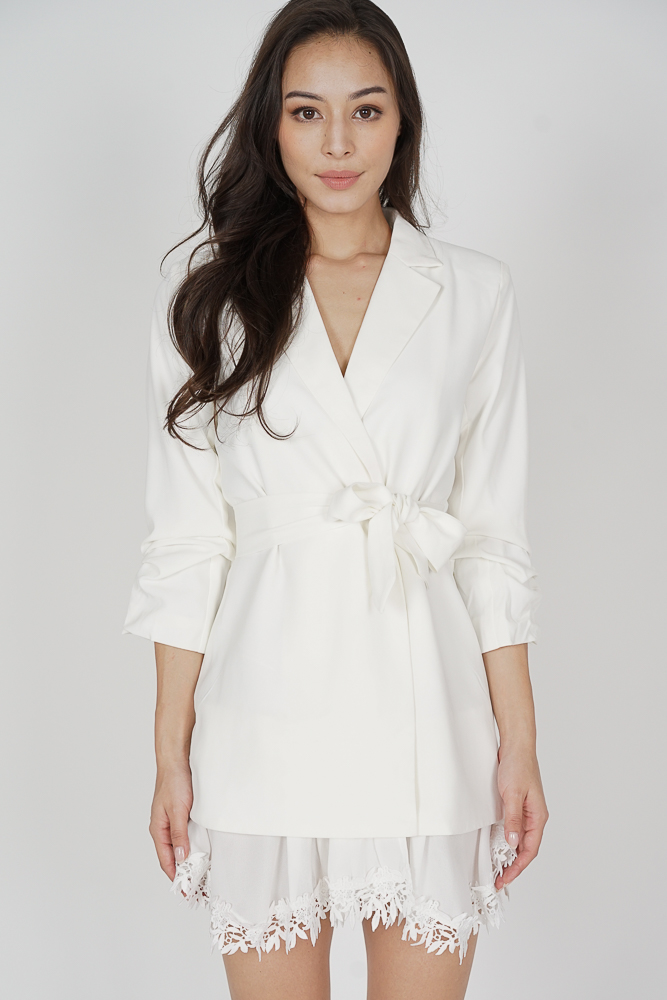 Jundio Blazer Dress in White - Arriving Soon