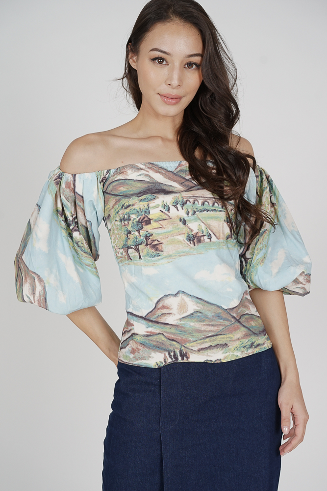 Raniya Puffy Top in Multi Abstract - Arriving Soon