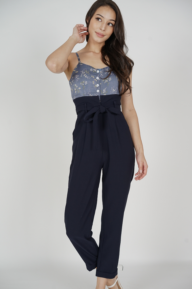 Wedelia Cami Jumpsuit in Blue Floral - Arriving Soon