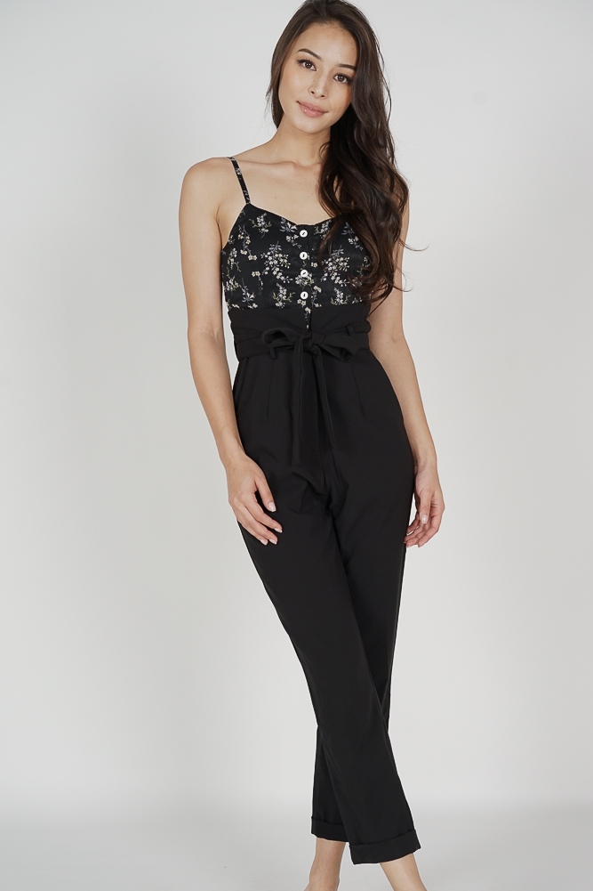 Wedelia Cami Jumpsuit in Black Floral