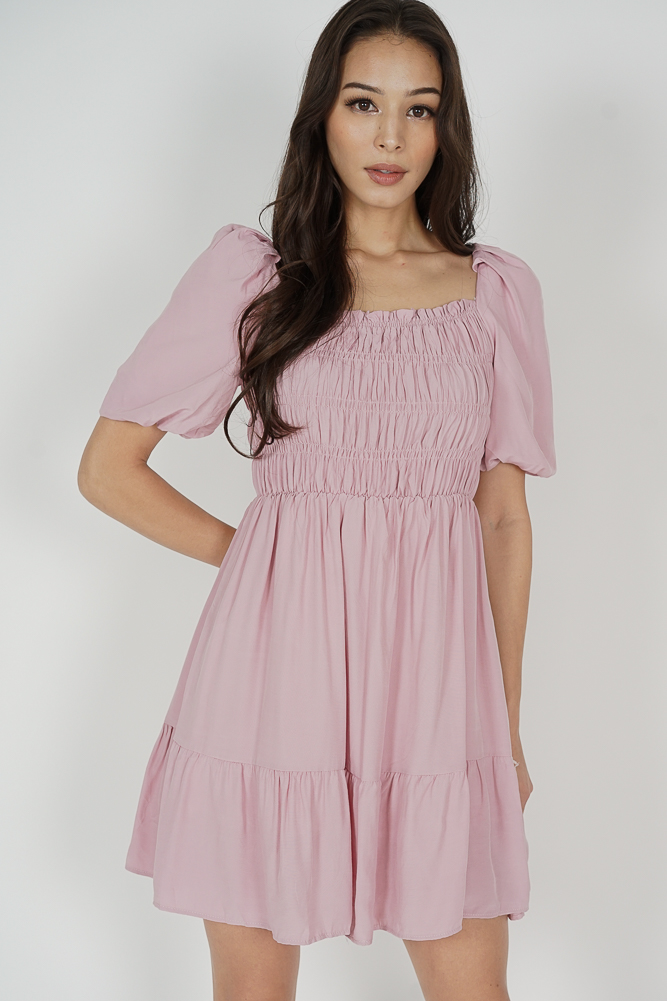 Chester Gathered Dress in Pink - Online Exclusive