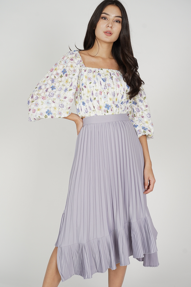Holden Asymmetrical Pleated Skirt in Lilac - Arriving Soon