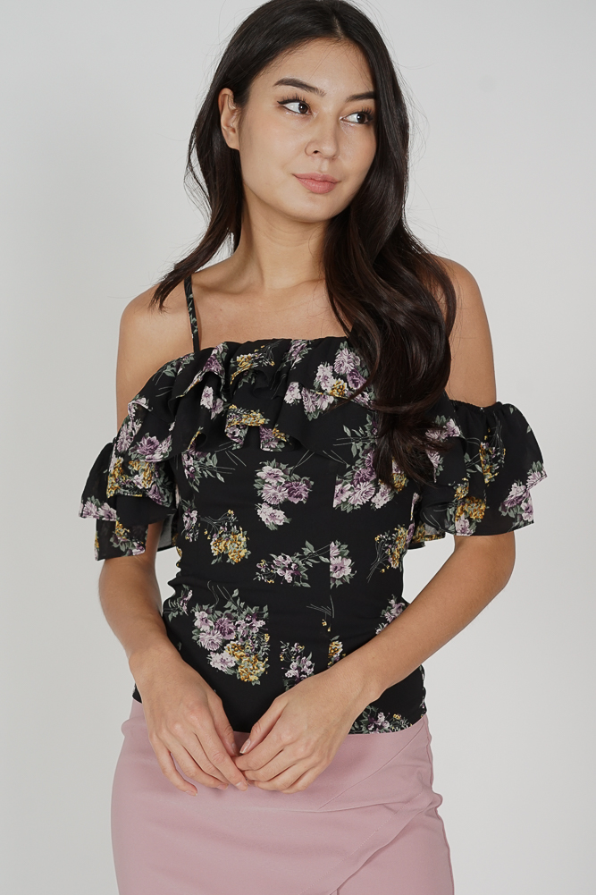 Nano Ruffled Cami Top in Black Floral - Arriving Soon