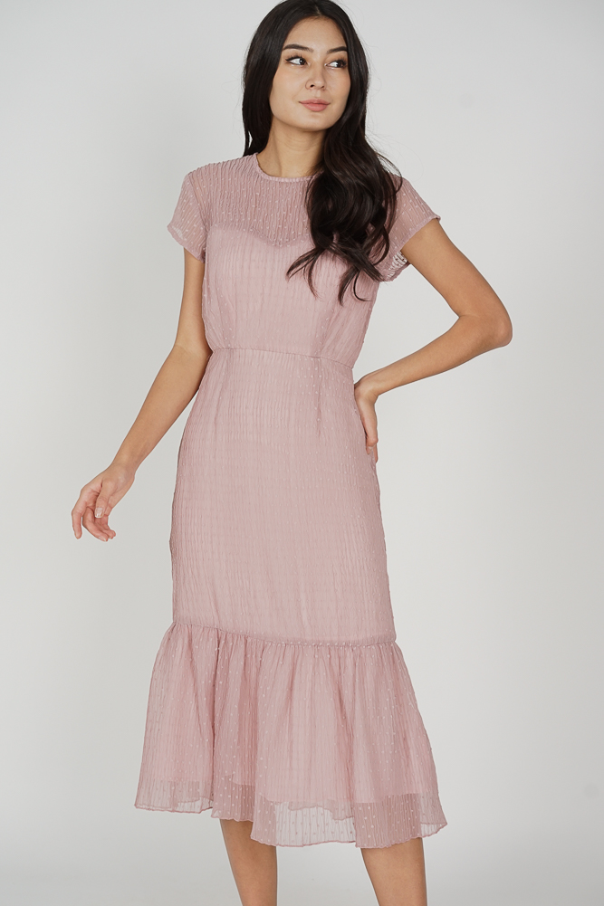 Ulma Ruffled-Hem Dress in Pink