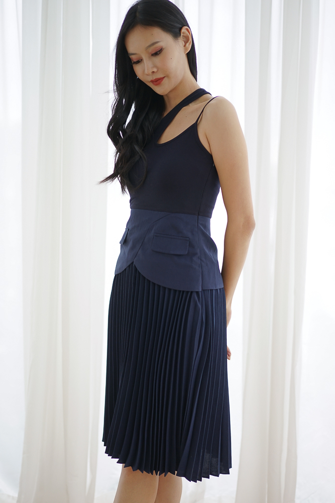 Ameiga Pleated Dress in Navy - Arriving Soon
