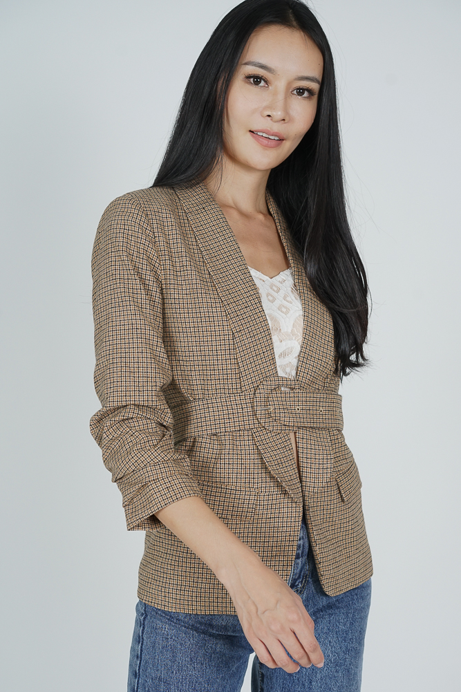 Alessia Belted Blazer in Brown Checks - Arriving Soon