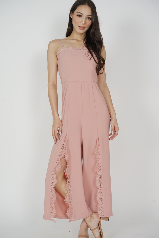 Rinda Lace-Trimmed Jumpsuit in Pink