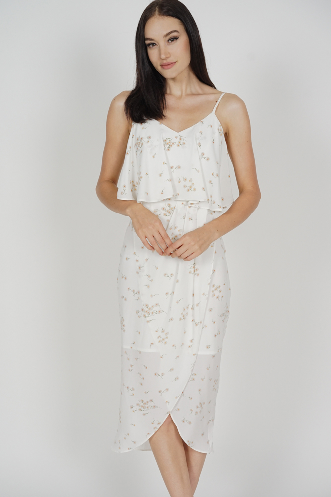 Kanzie Overlay Drape Dress in White Floral - Arriving Soon