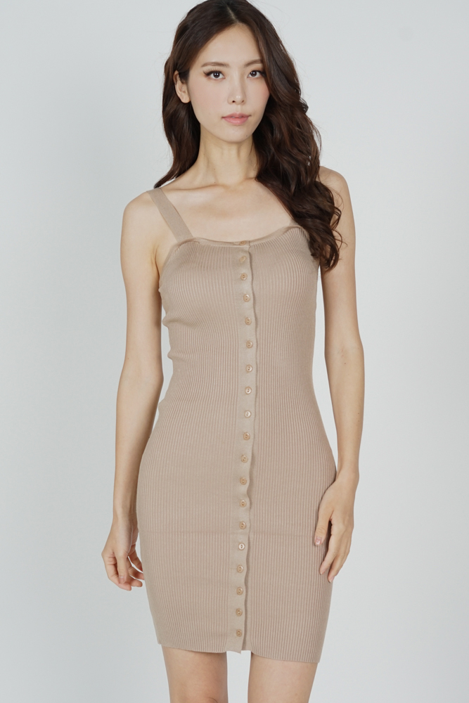 Adlay Buttoned Dress in Nude - Online Exclusive