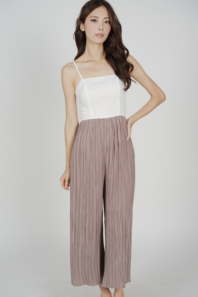 Sanders Pleated Jumpsuit in White Taupe