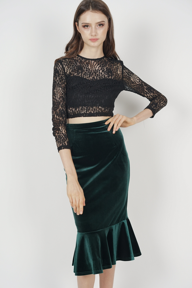 Morgan Velvet Skirt in Forest Green