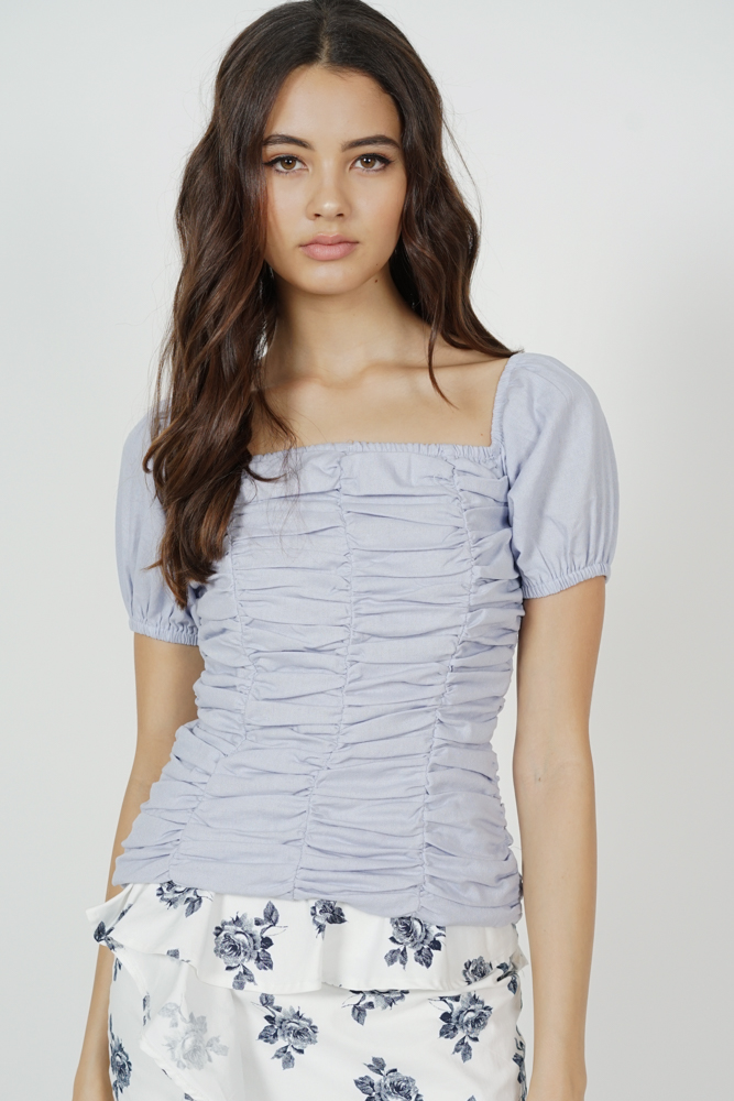 Merai Ruched Top in Ash Blue