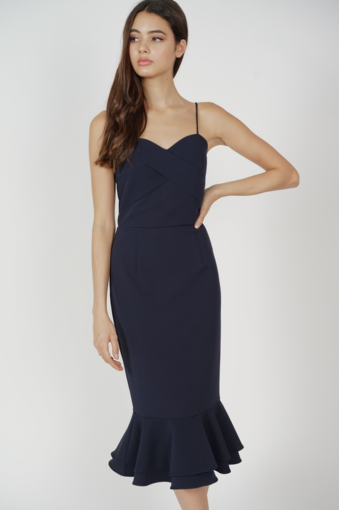 Stella Ruffled-Hem Dress in Midnight