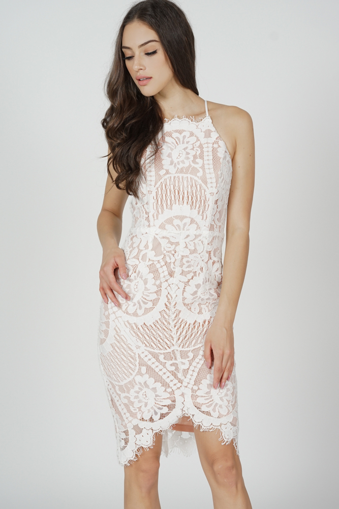 Yorina Halter Lace Dress in White Nude
