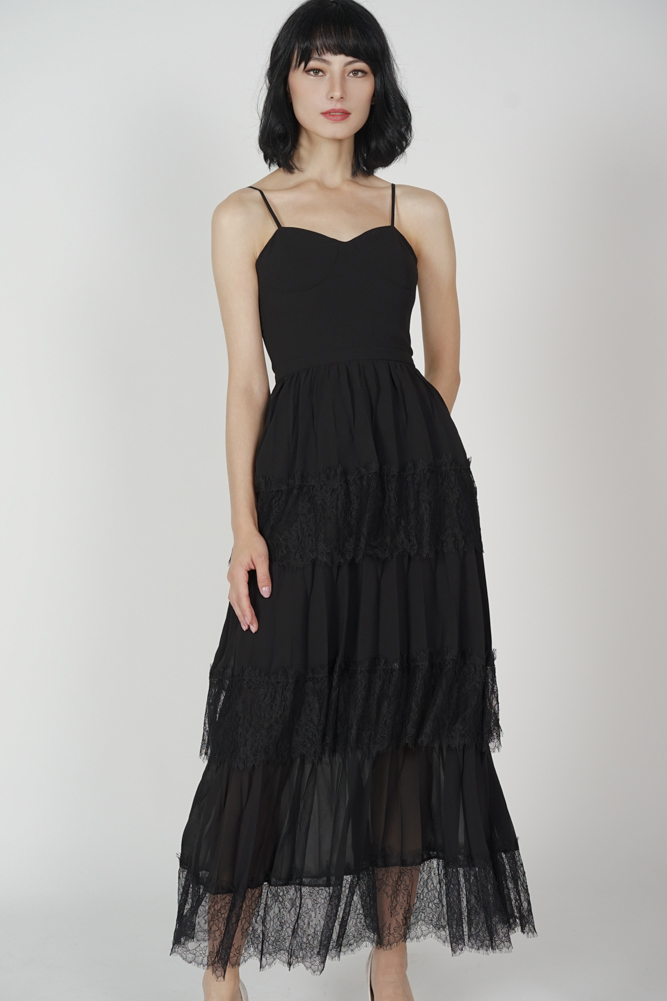 Armia Tiered Dress in Black