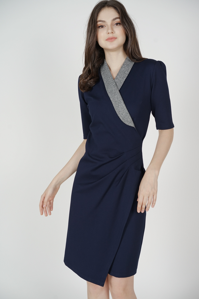 Chera Side Drape Dress in Midnight - Arriving Soon