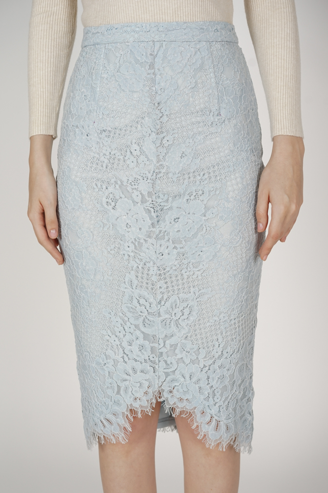Heisley Lace Skirt in Ash Blue - Arriving Soon