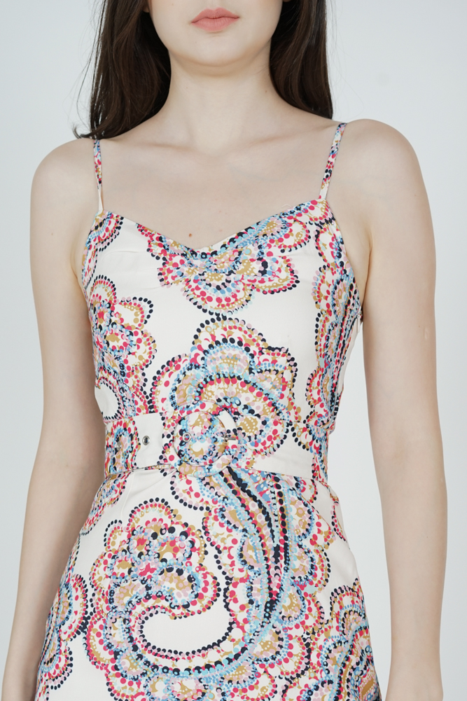 Nianah Cami Dress in White Multi