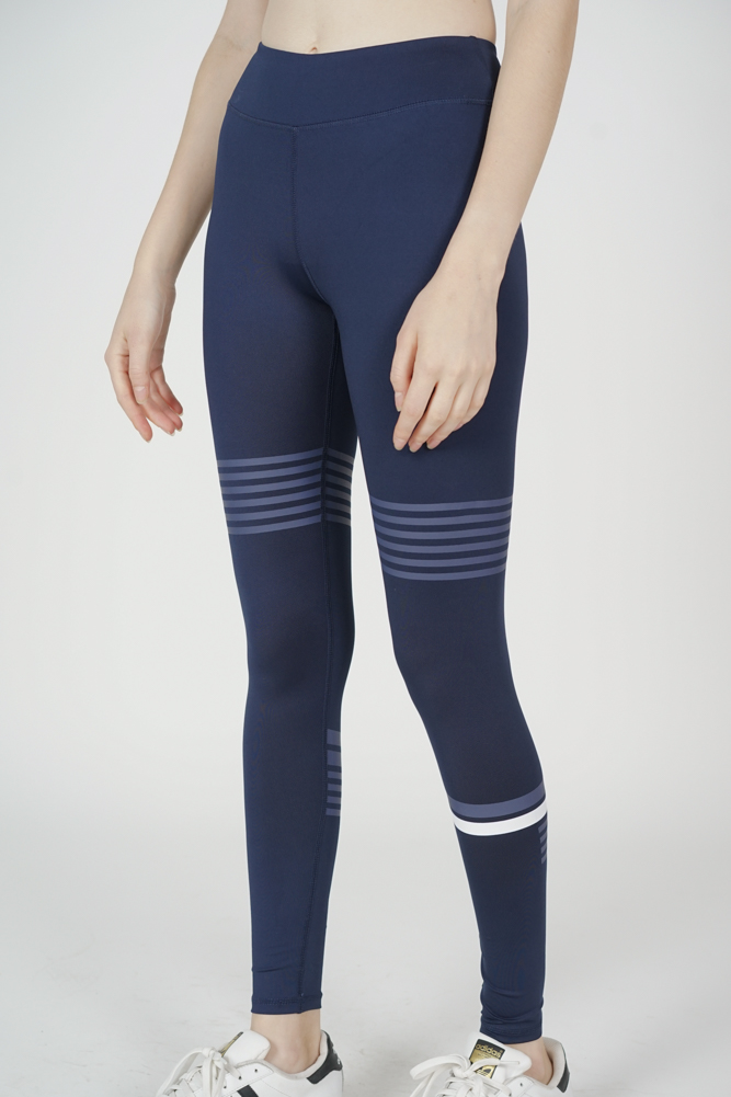 Nielle Striped Gym Tights in Navy - Arriving Soon
