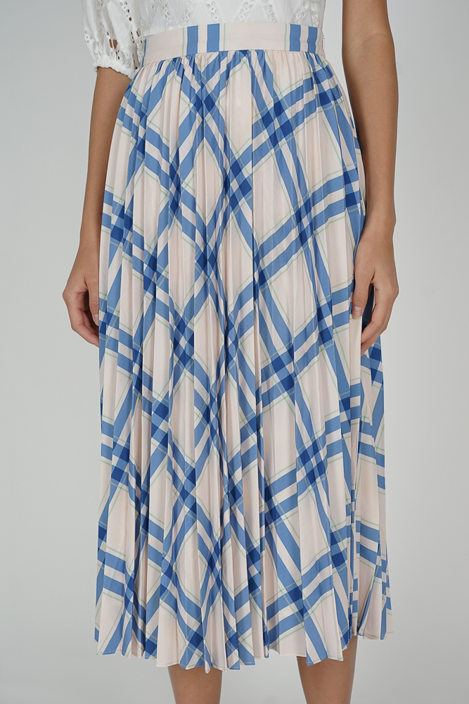Aidrea Pleated Skirt in White Blue Stripes - Arriving Soon