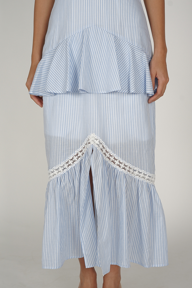Geena Ruffled Dress in Blue Stripes - Arriving Soon