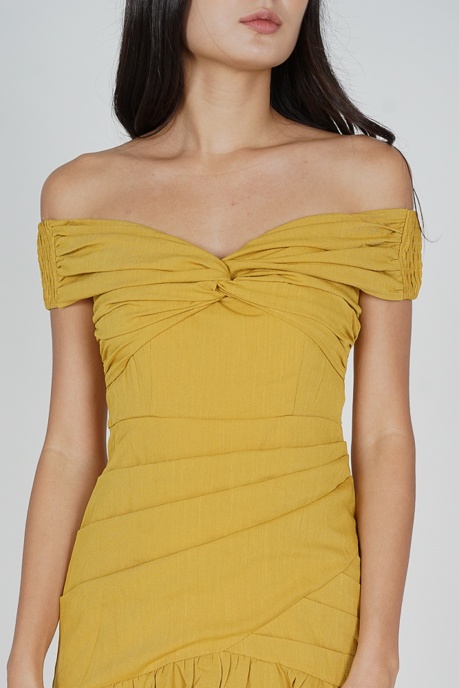Arwen Ruched Dress in Yellow - Online Exclusive
