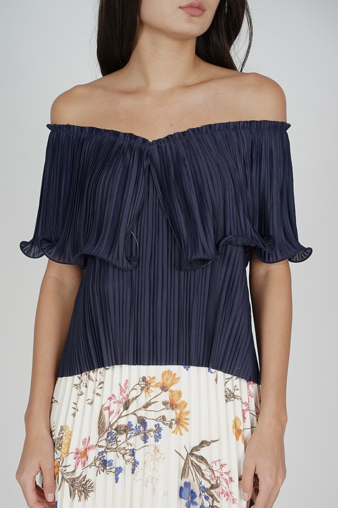 Jubi Pleated Ruffle Top in Midnight - Arriving Soon