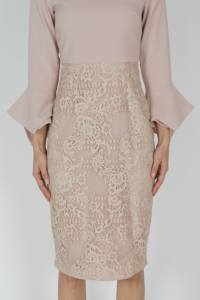 Raini Contrast Lace Dress in Pink - Arriving Soon
