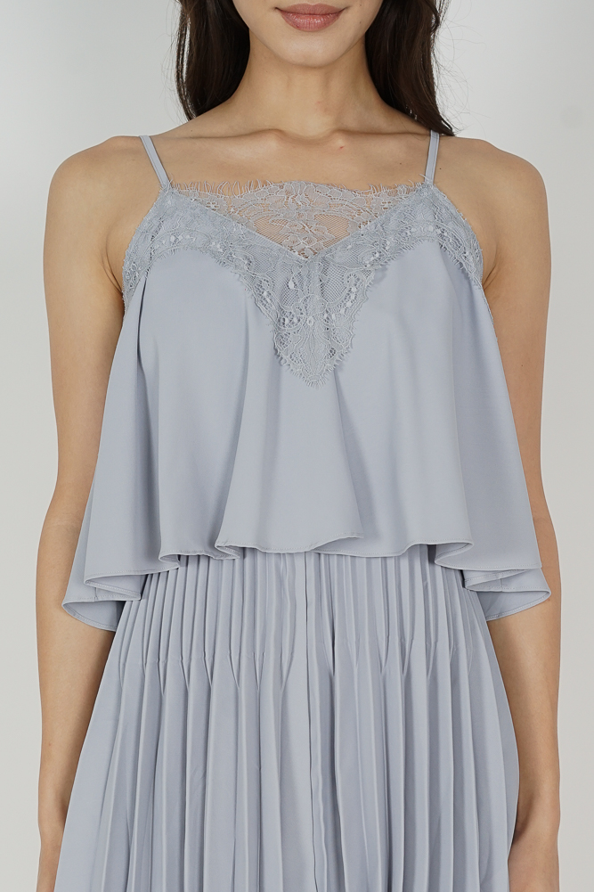 Boni Pleated Romper in Ash Blue - Arriving Soon