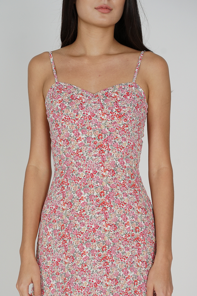 Lilith Slit Dress in Pink Floral - Arriving Soon