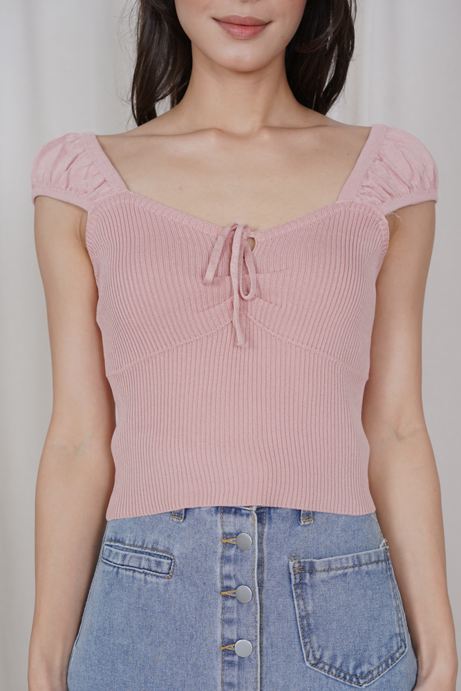Krystal Front-Tie Top in Pink - Online Exclusive