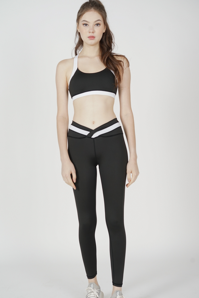 Musha Contrast Gym Tights in Black White - Arriving Soon