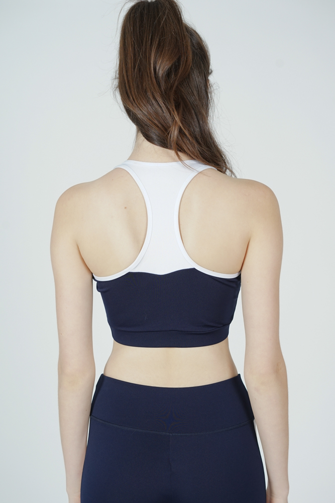 Radia Contrast Padded Top in Navy - Arriving Soon