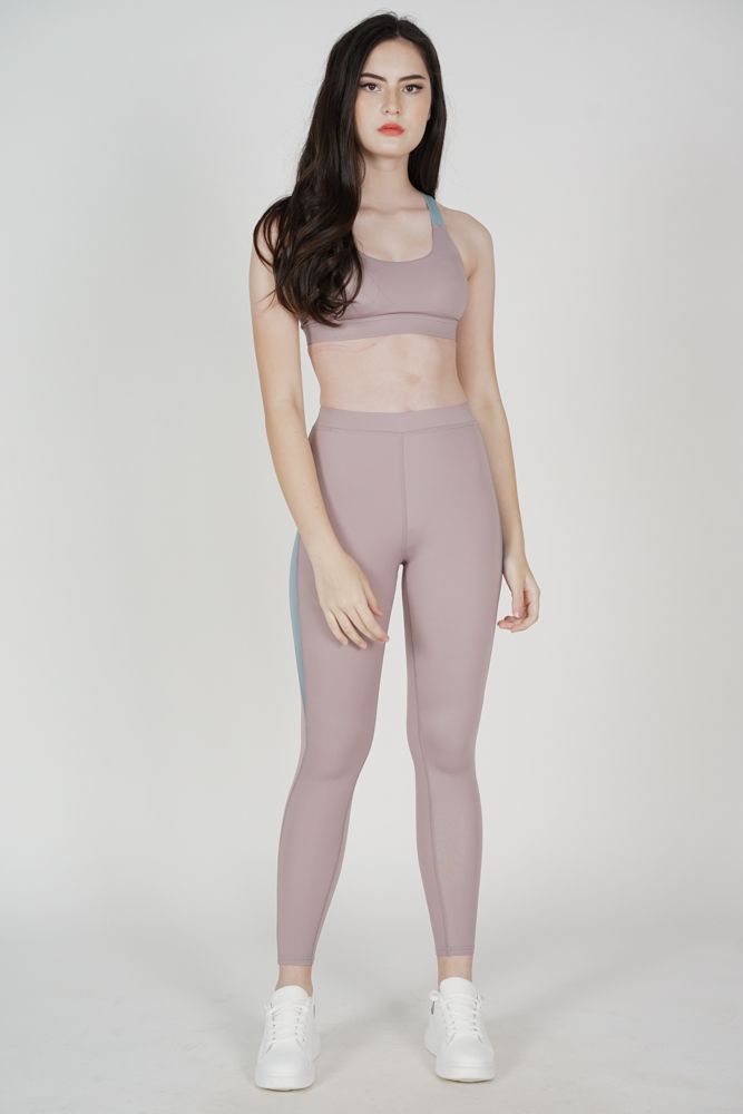 Mabley Contrast Gym Tights in Lilac - Arriving Soon