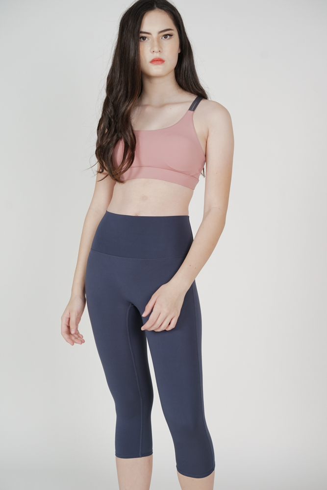 Nicola Cropped Gym Tights in Blue Grey - Arriving Soon