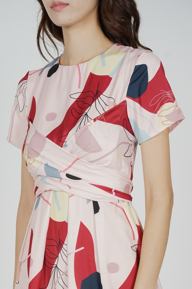 Marno Abstract Criss Cross Dress in Pink Red - Arriving Soon