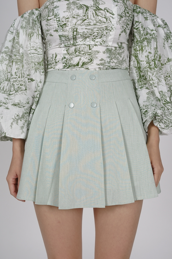 Tura Pleated Mini Skorts in Mint - Online Exclusive