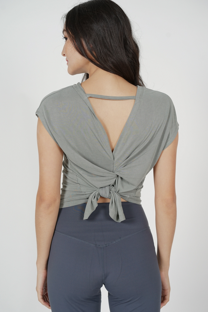 Lizzy Back-Tie Top in Sage - Arriving Soon