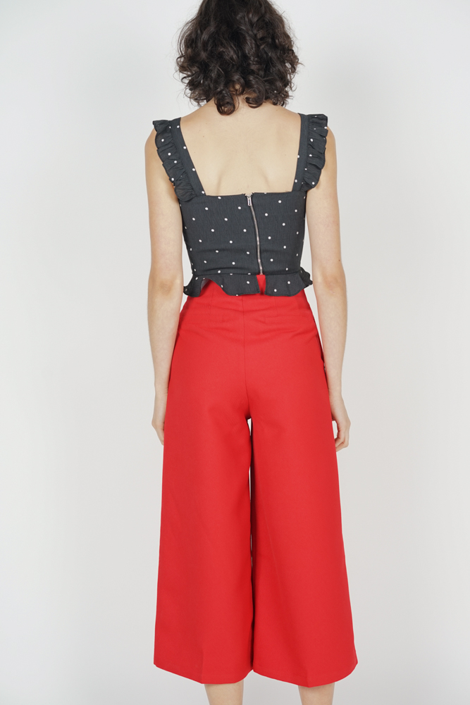 Elxie Buttoned Pants in Red - Arriving Soon