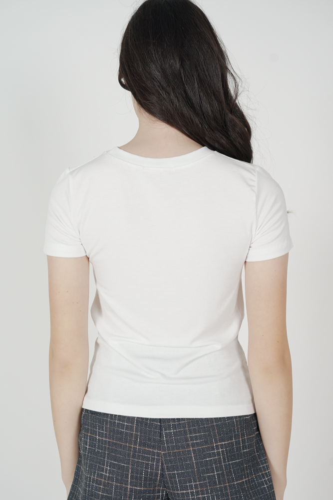 Lika Gathered Top in White - Online Exclusive