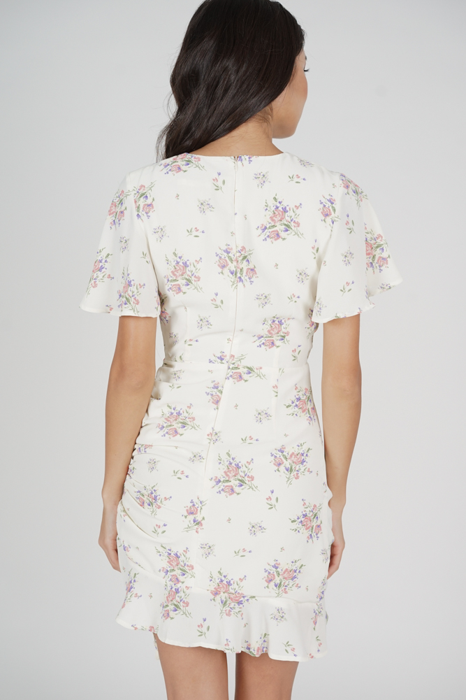 Kalie Side Ruched Dress in White Cream Floral