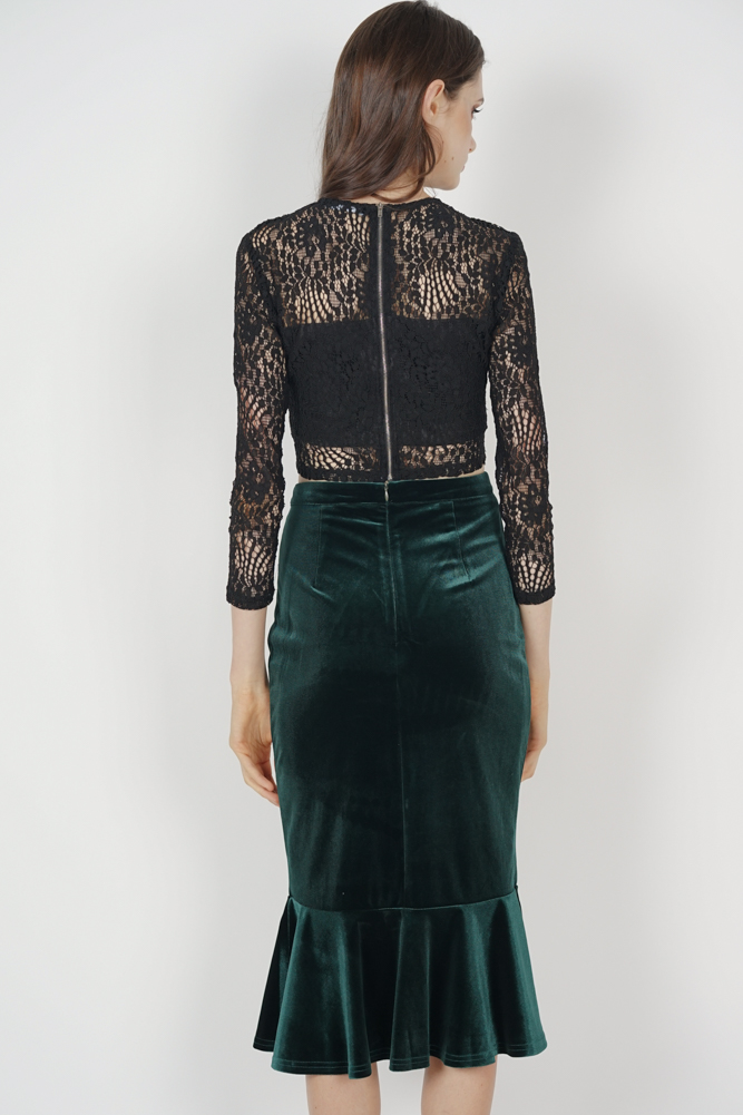 8c6487dbd4 MDS. Morgan Velvet Skirt in Forest Green